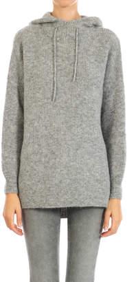 Ganni Gray Wool Knitted Hoodie