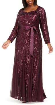 R & M Richards Plus Size Godet Sequin Gown