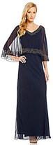 J Kara Beaded V-Neck Beaded Popover Gown