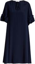 See by Chloe Ruffled-sleeve tie-neck silk dress