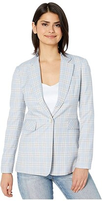 1 STATE Woodland Plaid One-Button Blazer (Light Heather Grey) Women's Clothing