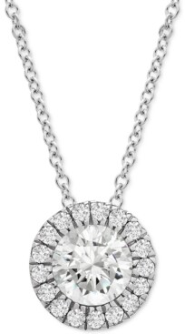 """Wrapped in Love Platinum By Diamond Halo 20"""" Pendant Necklace (1/2 ct. t.w.) in Platinum, Created for Macy's"""