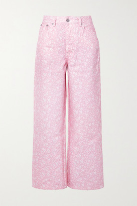 Ganni Net Sustain Floral-print High-rise Wide-leg Jeans - Baby pink