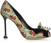 Miu Miu Bow-embellished floral-mogador pumps
