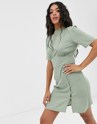Asos Design DESIGN mini tea dress with buttons-Green
