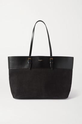 Saint Laurent Medium Leather-trimmed Croc-effect Suede Tote - Black