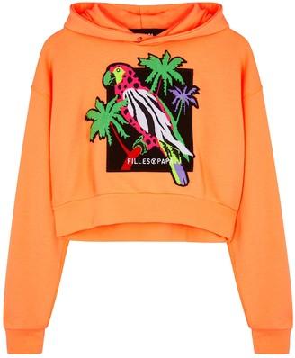 Filles a papa Neon Orange Appliqued Jersey Sweatshirt