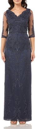 JS Collections Embroidered Mesh Blouson Gown
