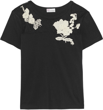 RED Valentino Floral-appliqued Point D'esprit-paneled Cotton-jersey T-shirt