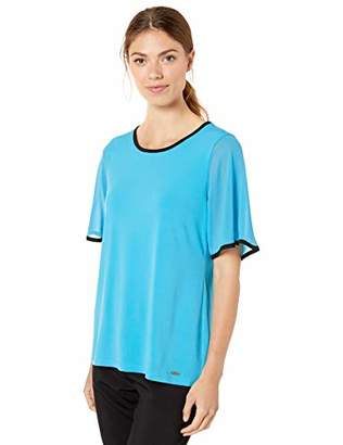 Calvin Klein Women's Piped Short Sleeve TOP