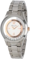 Kenneth Cole New York Women's KC4910 Transparency Dial Rose Gold Details Floating Stones Watch