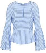 Milly Cutout Striped Silk And Cotton-Blend Blouse