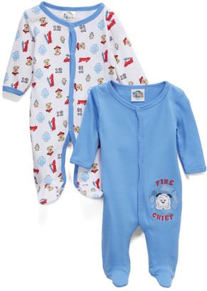 Sweet & Soft Boys' Footies Light - Blue & White 'Fire Chief' Dog Footie Set - Newborn & Infant