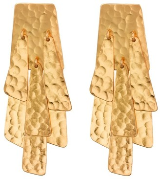Natori Hammered Gold Waterfall Earrings