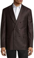 Brunello Cucinelli Checked Double-Breasted Wool Jacket, Brown