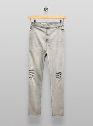 Topman BIG & TALL Grey Distressed Skinny Jeans