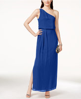 Adrianna Papell Adrianna By One-Shoulder Chiffon Draped Gown