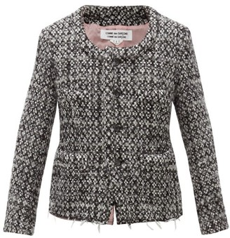 Comme des Garcons Single-breasted Tweed Jacket - Womens - Black White