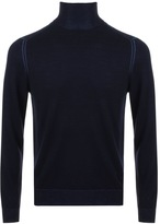 Giorgio Armani Jeans Knitted Roll Neck Jumper Navy