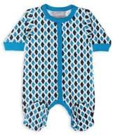 Coccoli Foulard & Tweed Size 6M Button Down Footie in Blue