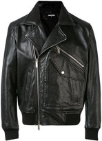 DSQUARED2 biker jacket - men - Cotton/Calf Leather/Polyamide/Wool - 48