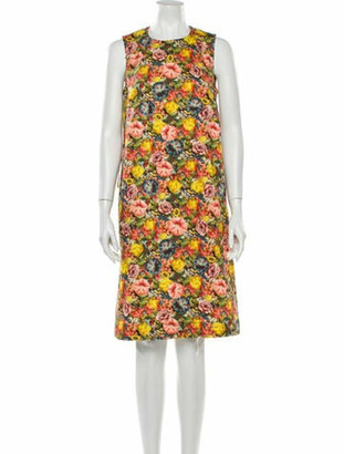 Marni Floral Print Knee-Length Dress w/ Tags Yellow