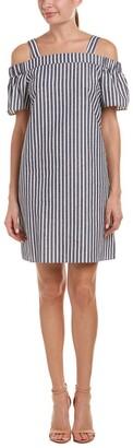 Nine West Women's Striped Cotton Linen Off The Shoulder Dress with Straps