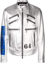 Dsquared2 metallic leather racer jacket