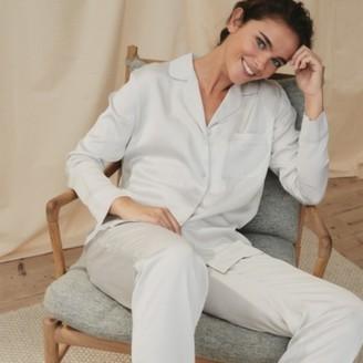 The White Company Satin Pyjama Set, Pale Grey, Large