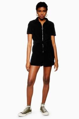 Topshop Womens Black Corduroy Playsuit - Black