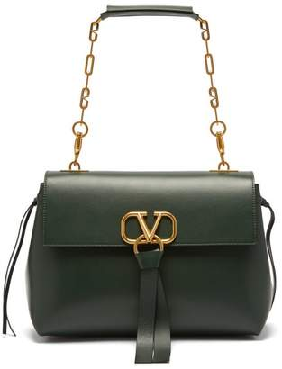 Valentino V-ring Medium Leather Shoulder Bag - Womens - Dark Green