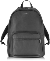 Armani Jeans Black Leather Backpack