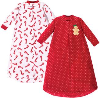 Hudson Baby Girls' Infant Sleeping Sacks Sugar - Red & White Candy Cane Wearable Blanket Set - Newborn