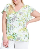 Fever Plus Size Tie-Dyed Flutter-Sleeve Top