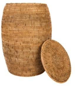 Artifacts Trading Company Rattan End Table and Hamper with Lid