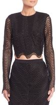 Bec & Bridge Mon Amour Long-Sleeve Mesh Cropped Top