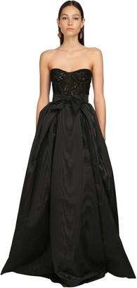 ZUHAIR MURAD Moire & Lace Long Dress