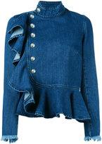 Marques Almeida Marques'almeida - ruffle denim jacket - women - Cotton - 12