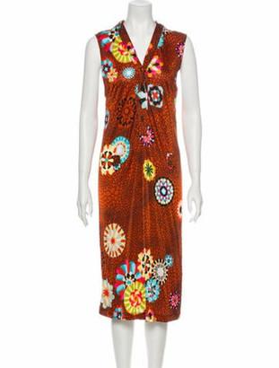 Missoni Floral Print Midi Length Dress Orange