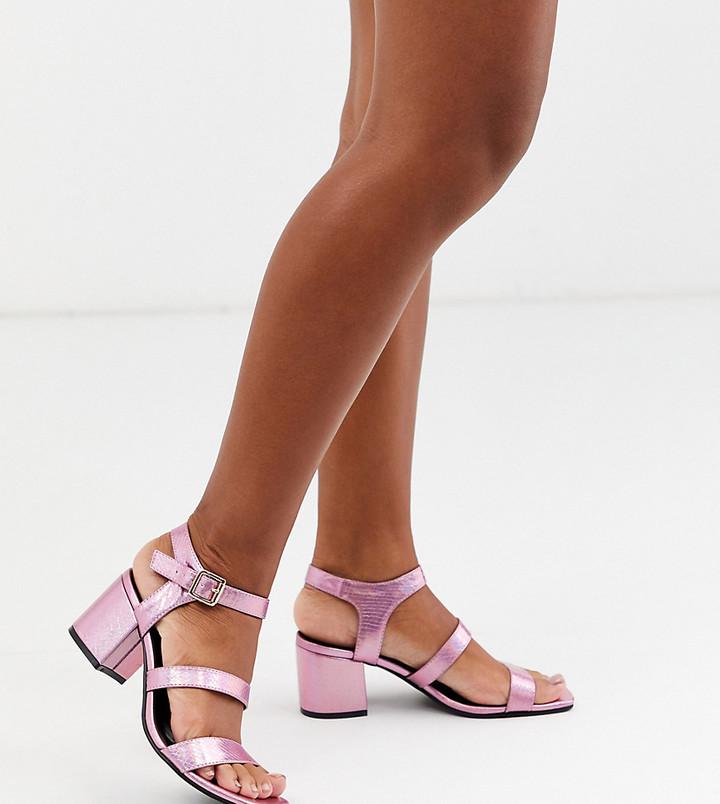 London Rebel wide fit block heel