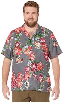 Tommy Bahama Poinsettia Holiday Camp Shirt (Black) Men's Clothing