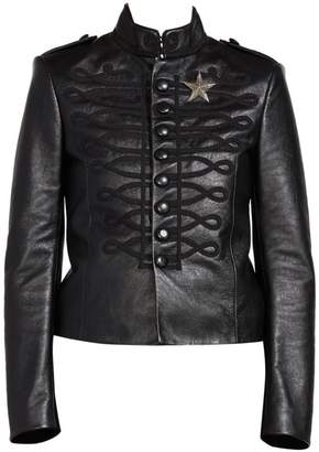 Saint Laurent Embroidered Leather Officer Jacket