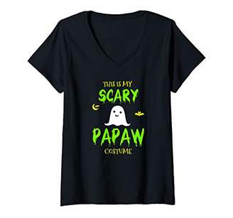 Womens Scary Papaw Halloween Costume Lazy Easy V-Neck T-Shirt