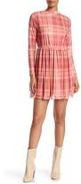 Taylor & Sage Plaid Print lLong Sleeve Mesh Dress