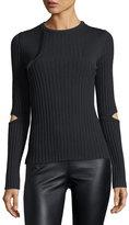 Nina Ricci Elbow-Slit Crewneck Sweater