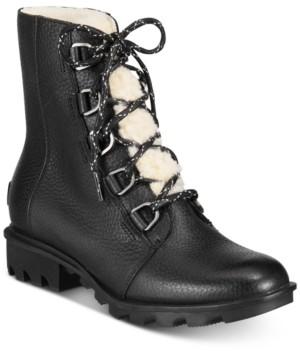 Sorel Women's Phoenix Short Lace Shearling Boots Women's Shoes