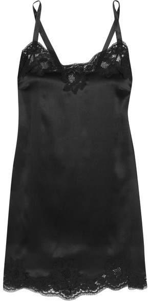 Dolce & Gabbana Lace-trimmed Stretch-silk Satin Chemise - Black