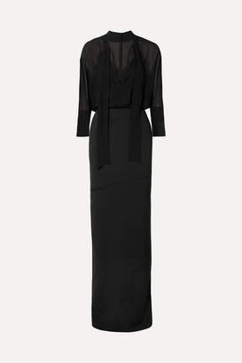 Akris Pussy-bow Stretch-silk Crepe And Georgette Dress - Black