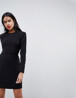 Asos Design DESIGN shoulder pad mini dress with seams-Black