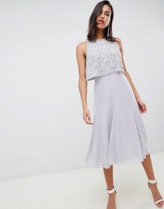ASOS DESIGN crop top embellished midi dress with gem droplets